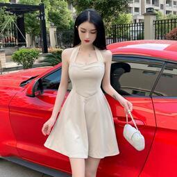 禮服 短款禮服宴會氣質洋裝小禮服性感露背高腰顯瘦a字抹胸掛脖連衣裙   布丁小站