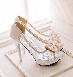 (32-43碼)韓版網紗蝴蝶結魚嘴涼鞋 高跟涼鞋 細跟涼鞋 婚鞋 大尺碼涼鞋 小尺碼涼鞋