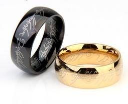至尊魔戒 霸氣個性食指單身黑色指環潮男士戒指 時尚鈦鋼配飾品 琴家灣