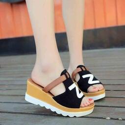 涼鞋 厚底高跟坡跟 正韓女拖鞋 外穿涼拖 休閒一字拖 度假沙灘鞋