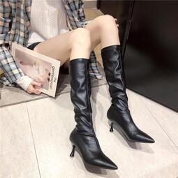 【快速出貨】女鞋 高跟鞋 2020年秋季新款性感顯瘦高筒靴網紅法式高跟鞋女細跟尖頭長靴黑色