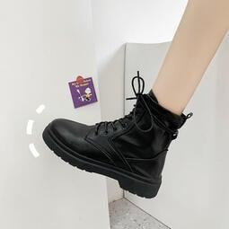 復古黑色機車短靴     厚底馬丁靴     女夏新款     英倫風     潮瘦瘦靴