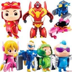 【重磅超質感】【阿妹小屋】豬豬俠超星戰隊五合體變形機器人套裝阿五鐵拳虎超人強小呆呆玩具