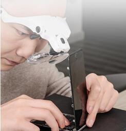 頭戴放大鏡高清帶led燈可調節鑒定維修專業式眼鏡放大鏡高倍雕刻